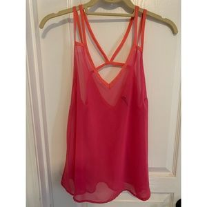 Pink see-though Tank Top Size Small